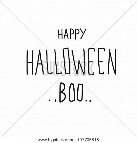 Happy Halloween Boo word handwriting illustration on white background