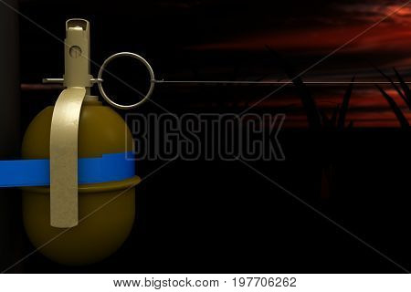 Concept of danger, appeal to attentiveness and extreme care. One wrong step can lead to tragedy. A deadly trap - a hand-grenade with fastened to a ring and tense thin wire, closeup, 3D illustration.