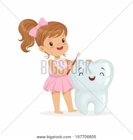 Beautiful girl brushing a big smiling tooth with a brush, cute cartoon characters vector Illustration on a white background