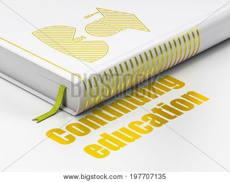 Learning concept: closed book with Gold Student icon and text Continuing Education on floor, white background, 3D rendering