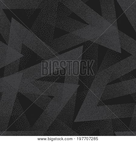 Vector Abstract Stippled Weird Hipster Seamless Pattern. Handmade Tileable Geometric Dotted Grunge Dark Gray Solid Simple Background. Bizarre Art Illustration