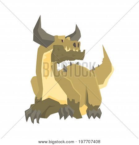 Horned dragon monster, mythical and fantastic animal vector Illustration on a white background