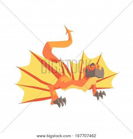 Dragon mythical and fantastic animal vector Illustration on a white background