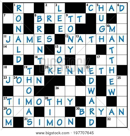 Popular male names written in a crossword puzzle with blue ink.
