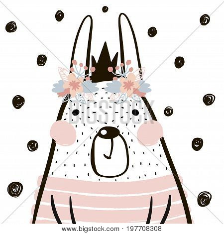 Cute cartoon rabbit girl with crown in scandinavian style. Childish print for nursery kids apparelposter postcard. Vector Illustration