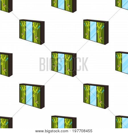 Wardrobe with mirror and green doors. the place for clothes.Bedroom furniture single icon in cartoon style vector symbol stock web illustration.