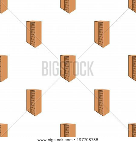 A brown wooden bookcase with many books on its shelves. Home library. Love reading. Large brown bookcase.Bedroom furniture single icon in cartoon style vector symbol stock web illustration.