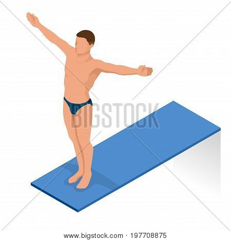 Isometric people diving into water in to the swimming pool, diver. Female swimmer, that jumping and diving into indoor sport swimming pool. Sporty woman