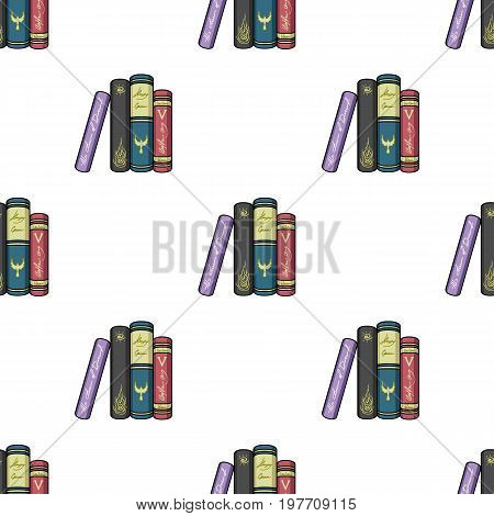 Standing books icon in cartoon design isolated on white background. Books symbol stock vector illustration.