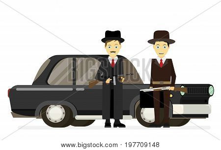 Gangsters with old car. Vector flat illustration