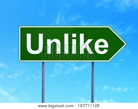 Social network concept: Unlike on green road highway sign, clear blue sky background, 3D rendering