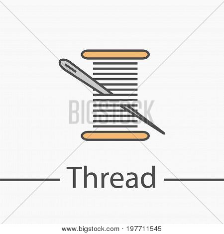 Needle and thread symbol. Line icon. Vector sign for web graphics.