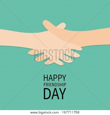 Happy Friendship Day. Handshake icon. Hands arms reaching to each other. Shaking hands. Close up body part. Friends forever. Helping hand. Green background Isolated. Flat design. Vector