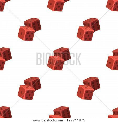 Dice for games in the casino. Stones to throw on the table for good luck.Kasino single icon in cartoon style vector symbol stock web illustration.