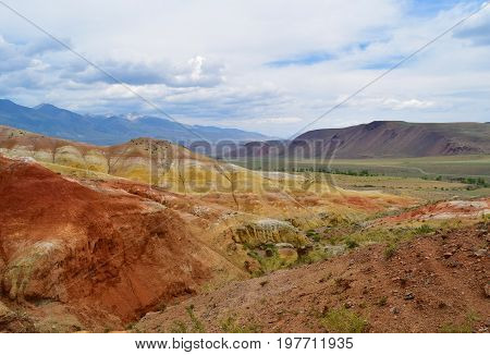 Canyon between colorful hills in Altai mountains. Altay Republic Russia.