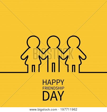 Happy Friendship Day. Two black woman female and one man male silhouette sign symbol. Boys girls holding hands line contour icon. Friends forever. Yellow background Flat design. Vector illustration
