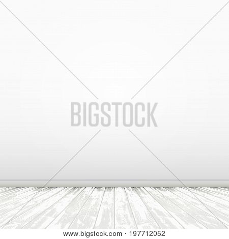 Simple White Room With Wood Floor. EPS10 Vector