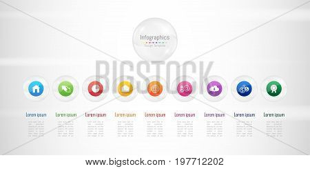 Infographic design elements for your business data with 9 options, parts, steps, timelines or processes. Transparent glass sphere concept, Vector Illustration.