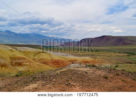 View of multicolor hills of Altai mountains. Altay Republic Russia.