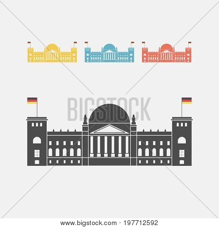 Facade view of the Reichstag Bundestag building in Berlin, Germany. Vector sign for web graphics.