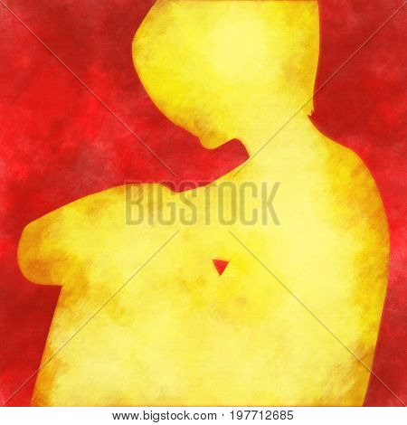 Sitting woman silhouette. Sadness and grief emotions
