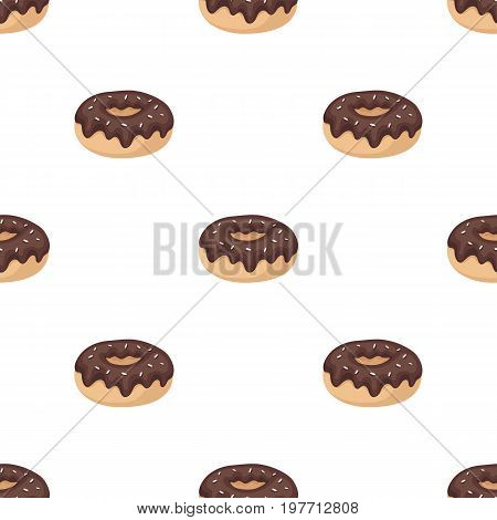 Donut with chocolate glaze icon in cartoon design isolated on white background. Chocolate desserts symbol stock vector illustration.