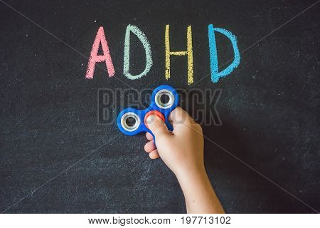 Spinner Helps With Adhd Syndrome. Adhd Is Attention Deficit Hyperactivity Disorder. Close Up