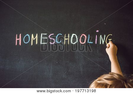 Homeschooling. Child Pointing At Word Homeschooling On A Blackboard