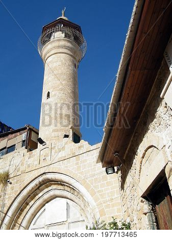 Minaret of mosque in old city Jaffa Israel