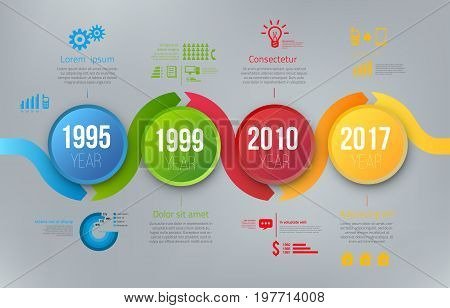 Process chart with 4 steps timeline for business data visualization. Bright colors circle and infographics with icons. Vector template on gray background