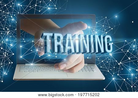 Hand From Laptop Clicks On The Word Training.