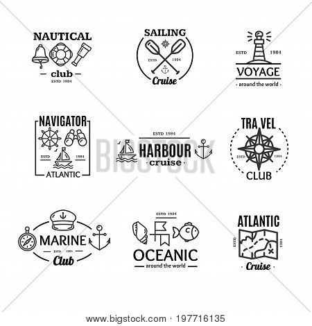 Nautical Emblem Badges or Labels Black Line Art Set on a White for Ocean and Sea Company. Vector illustration