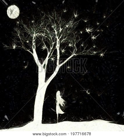 black and white fantasy: illustration with the tree, the moon and little girl farewell butterflies