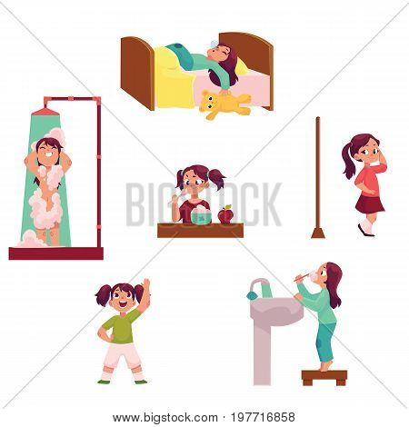Daily morning routine, little girl sleeping, taking shower, eating, dressing, doing exercises, brushing teeth, cartoon vector illustration isolated on white background. Daily morning routine set