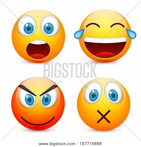 Smiley with blue eyes, emoticon set. Yellow face with emotions. Facial expression. 3d realistic emoji. Sad, happy, angry faces.Funny cartoon character.Mood.Vector illustration.
