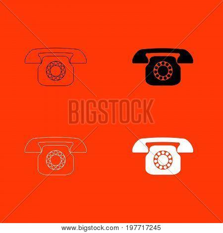 Retro telephone white and black color icon .
