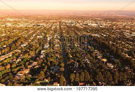 Aerial view of Los Angeles, CA near Century City