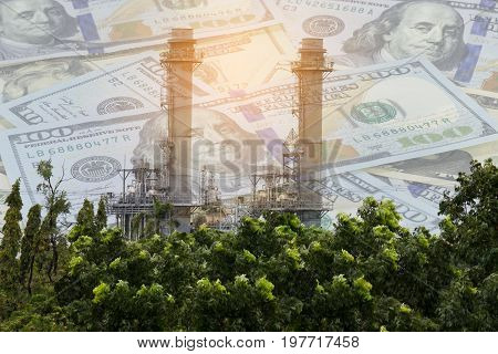Double exposure of Natural Gas Combined Cycle Power plant electricity generating with dollar money.