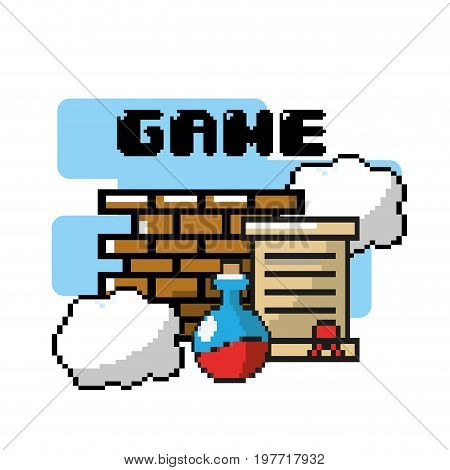 videogame play technology with graphic design vector illustration