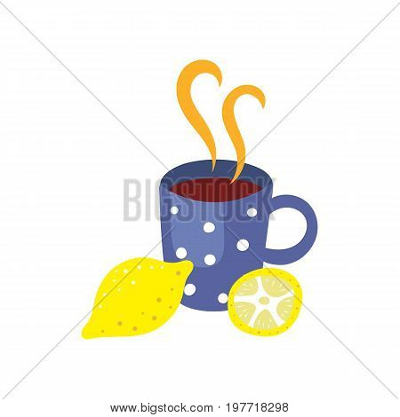 Vector cup of hot beverage with lemon. Flat, cartoon illustration isolated on a white background. Cold and flu treatment, hot tea, coffee or medicine with steam in blue dotted cup.