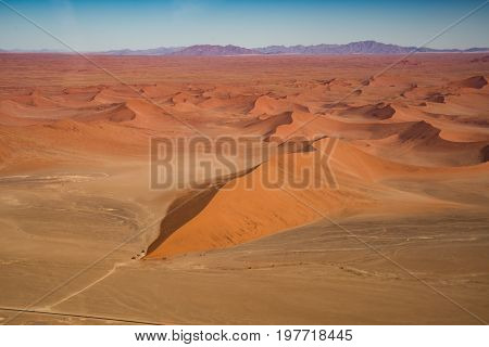 Dune 45 view from the air Namib Naukluft national park in Namibia