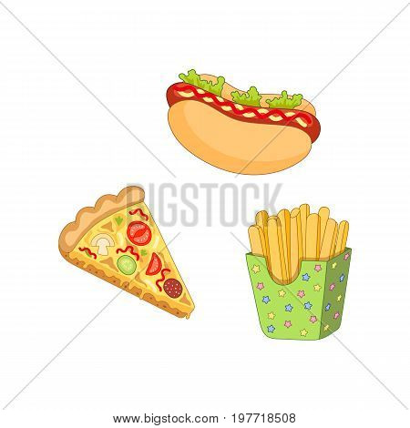 Vector pizza slice, french fries hot dog set. Fast food flat cartoon isolated illustration on a white background. Hot dog with sauce and salad, potato fry in paper box and tomato and pepperoni pizza