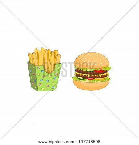 Vector sandwich, burger and french fries set. Fast food flat cartoon isolated illustration on a white background. Humburger with cheese, tomato salad lettuce and potato fry in paper box