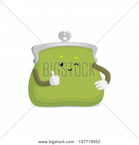 Vector money wallet, purse character flat illustration isolated on a white background. Expressive happy, emotinal satisfied wallet smiling gives thumbs up. Money, success wealth and richness concept