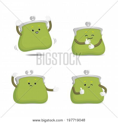 Vector money wallet, purse character flat set illustration isolated on a white background. Expressive happy, sad emotinal satisfied wallet smiling . Money, success wealth and richness concept