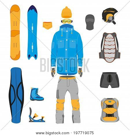 Set of snowboarding gear, clothing, equipment, cartoon vector illustration isolated on white background. Cartoon vector snowboard, clothes, gear and tools collection