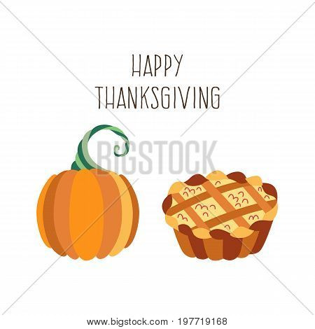 Vector set of thanksgiving pie and pumpkin. Flat illustration isolated on a white background. Cartoon applecake, pumpkin . Sign of thanksgiving, autumn, harvest. Vegetarian food, healthy eating.
