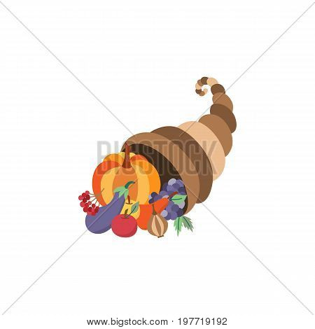 Vector horn of planty, cornucopia flat illustration symbol isolated on a white background. Sign of thanksgiving, autumn, harvest. Basket of fruit vegetables - pumpkin, apple, eggplant grape pear.