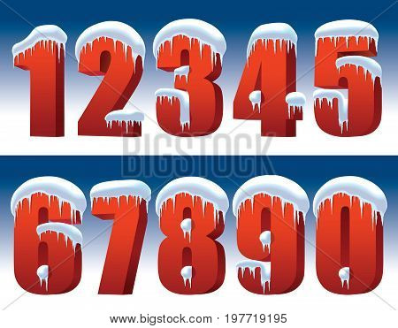 Red numbers with snow and icicles on a blue background perfect for New Year decoration
