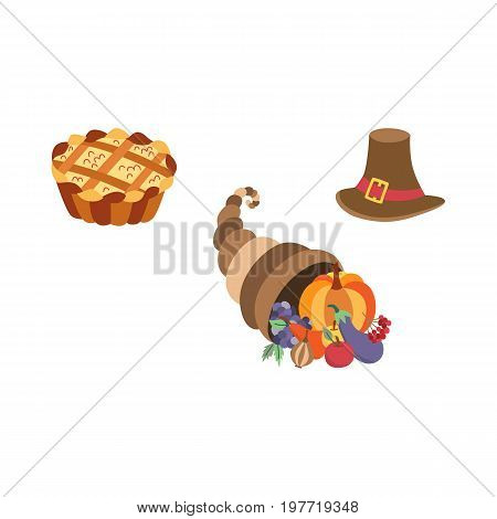 Vector set of thanksgiving pie, horn of plenty and pilgrim hat. Flat illustration isolated on a white background. Cartoon cornucopia, hat and cake. Sign of thanksgiving autumn harvest.